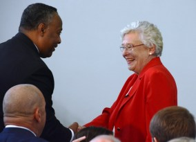 Gov. Kay Ivey greets local officials at Bevill State Community College's new HVAC training facility. (Karim Shamsi-Basha / Alabama NewsCenter)