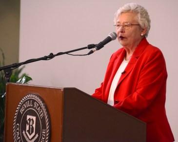 Alabama Gov. Kay Ivey speaks during the ceremony at Bevill State Community College. (Karim Shamsi-Basha / Alabama NewsCenter)