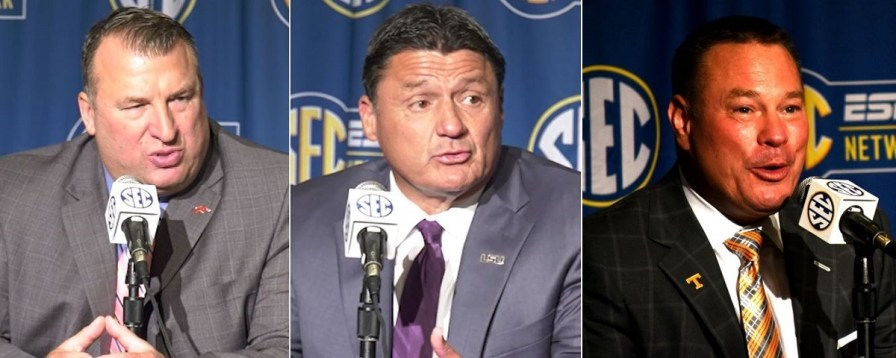 Coaches Bret Bielema of Arkansas, Ed Orgeron of LSU and Butch Jones of Tennessee at the first day of SEC Media Days. (Mike Raita and Solomon Crenshaw Jr. / Alabama NewsCenter)