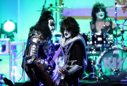 Musicians Gene Simmons, Tommy Thayer and Eric Singer of KISS perform onstage during the 23rd Annual Race To Erase MS Gala at The Beverly Hilton Hotel on April 15, 2016 in Beverly Hills, California. (Frederick M. Brown/Getty Images)