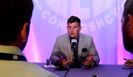 LSU defensive end Christian LaCouture at SEC Media Days. (Solomon Crenshaw Jr. / Alabama NewsCenter)