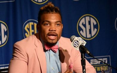 LSU running back Derrius Guice at SEC Media Days. (Solomon Crenshaw Jr. / Alabama NewsCenter)