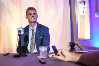 Auburn kicker Daniel Carlson talks to reporters at SEC Media Days. (Wade Rackley/Auburn Athletics)