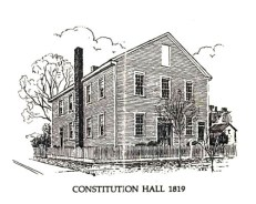 Constitution Hall, shown here in this line drawing, was in Huntsville and was the site where Alabama's first state constitution was signed in 1819. A re-creation of the building now stands on the same site in the Alabama Constitution Village living-history park. (From Encyclopedia of Alabama, Courtesy of Alabama Department of Archives and History)
