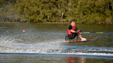Joe Ray has taught many people with disabilities to water ski at Adaptive Aquatics on Lay Lake, including Sarah Switzer, a teammate on this year's U.S. Disabled Water Ski World Team. (Shane Morgan)