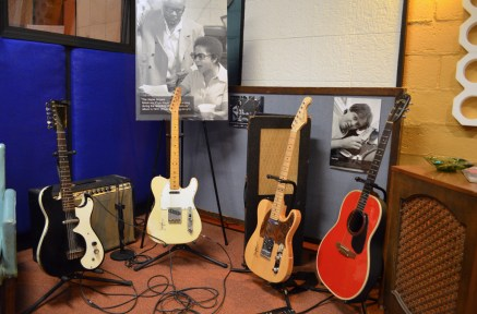 Historical photos from Muscle Shoals recording sessions are part of the restored studio's displays. (Anne Kristoff/Alabama NewsCenter)