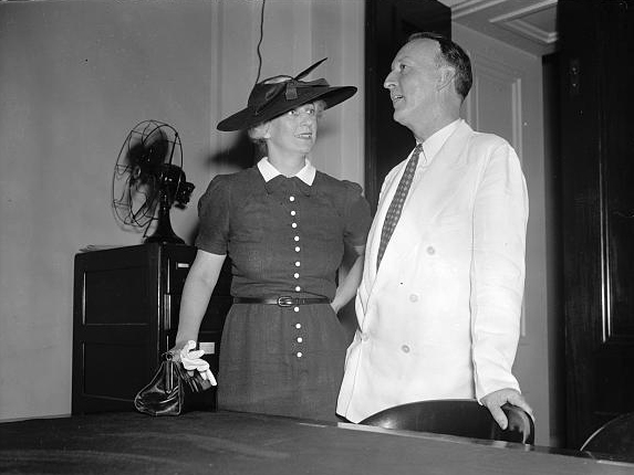 New Supreme Court appointee and wife. Washington, D.C., Aug. 12., 1937. Sen. and Mrs. Hugo L. Black photographed at the Capitol today shortly after Black's nomination as a member of the Supreme Court was received in the Senate chamber. (Photograph by Harris and Ewing, Library of Congress Prints and Photographs Division)