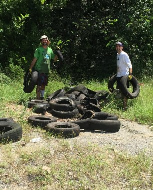 A pile of tires fished from Valley Creek on Murphy Lane. (Jefferson County Department of Public Health)