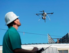Alabama Power UAV operators and spotters are in Houston and Southeast Texas assisting in inspections and repair of the electrical system in hard-to-access areas. (Phil Free / Alabama NewsCenter)