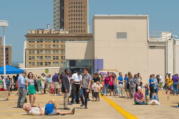 Young and old gathered at the parking deck of McWane Science Center for the solar eclipse. (Phil Free / Alabama NewsCenter)