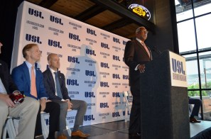 Birmingham Mayor William Bell speaks at the announcement of the city's new USL team. (Michael Tomberlin / Alabama NewsCenter)