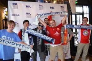 Birmingham Hammer fans celebrate the city getting a USL team. (Michael Tomberlin / Alabama NewsCenter)