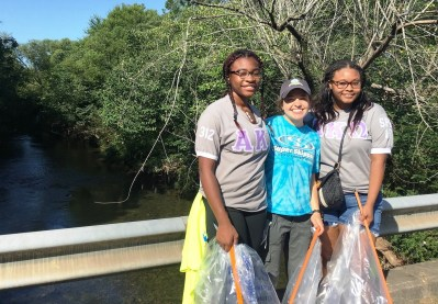 Sorority members were among the volunteers who helped make Valley Creek cleaner this year. (Freshwater Land Trust)