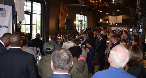 Hundreds turned out at Good People Brewing Company for the announcement of Birmingham's new USL team. (Michael Tomberlin / Alabama NewsCenter)