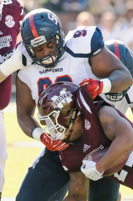 Samford defensive lineman Xavier Forrest will be a leader of the Bulldogs defense this year. (Samford Athletics)