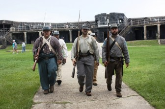 Infantry practices the changing of the guard drill during the living history event at Fort Morgan commemorating the Battle of Mobile Bay. (Robert DeWitt / Alabama NewsCenter)