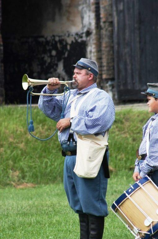 Infantry bugler performs at the re-enactment. (Robert DeWitt / Alabama NewsCenter)