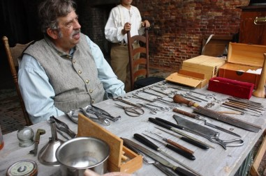 Bert Blackburn talks to visitors about Civil War-era medical practices during the living history event at Fort Morgan commemorating the Battle of Mobile Bay. (Robert DeWitt / Alabama NewsCenter)