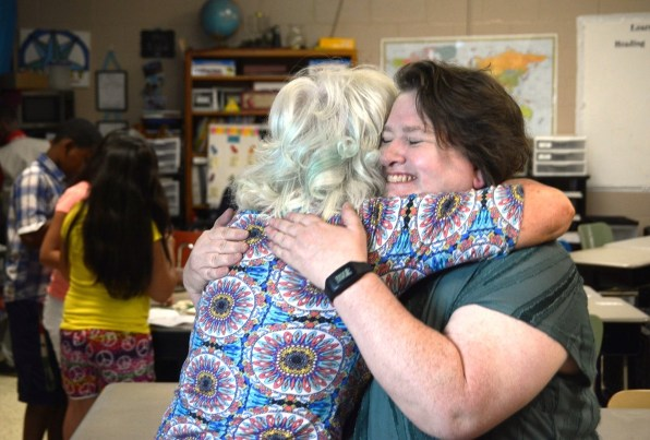 Stephanie Kidd, right, has no doubt she has found her true mission teaching a combined fourth- and fifth-grade class at Lipscomb Elementary School. (Karim Shamsi-Basha/Alabama NewsCenter)