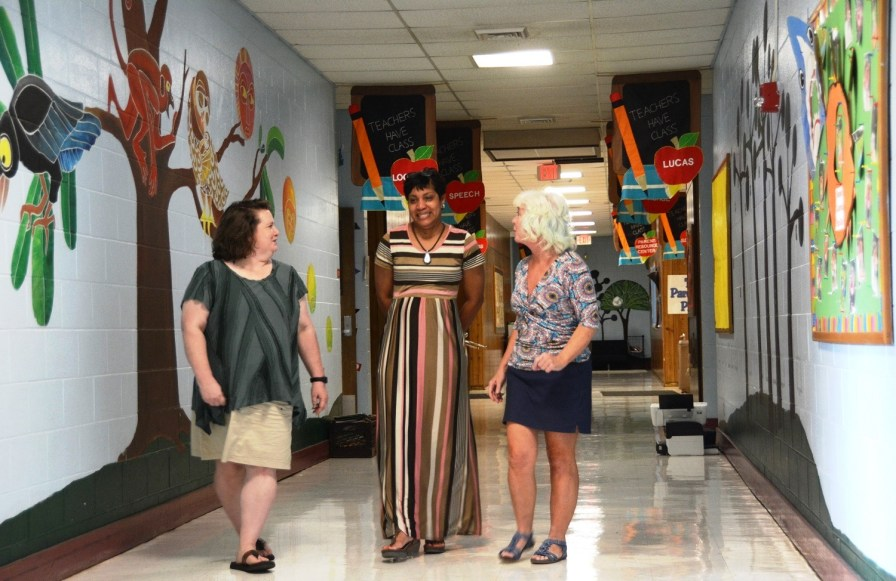Stephanie Kidd, left, says she loves teaching at Lipscomb Elementary School. (Karim Shamsi-Basha/Alabama NewsCenter)