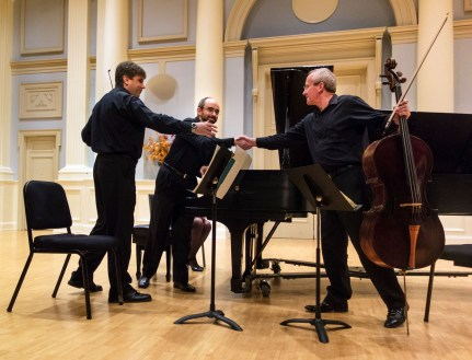 Russian Passion, an Evening of Tchaikovsky presented by the Alabama Symphony Orchestra, 2014. Left to right: Daniel Szasz, violinist; Yakov Kasman, pianist; Warren Samples, cello. (Ralph Daily, Flickr)