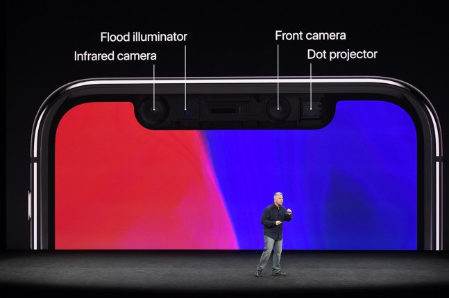 Phil Schiller, senior vice president of worldwide marketing at Apple Inc., speaks about the iPhone X during an event at the Steve Jobs Theater in Cupertino, California. (David Paul Morris/Bloomberg)