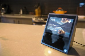 The new Amazon.com Inc. Echo Show sits on display during the company's product reveal launch event in downtown Seattle Wednesday. (Daniel Berman/Bloomberg)