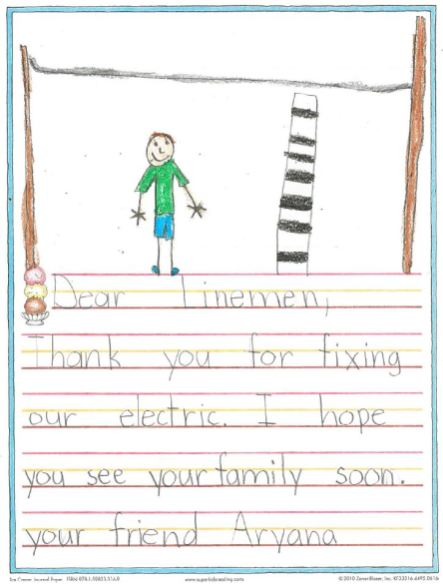 "Students from Palmetto Charter School in Manatee County drew pictures and wrote ""thank you"" notes to Alabama Power crews working in Florida after Hurricane Irma. (contributed)"