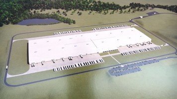 A rendering shows the 800,000-square-foot Mercedes-Benz Global Logistics Center in the Scott G. Davis Industrial Park in Bibb County. (Gray Construction)