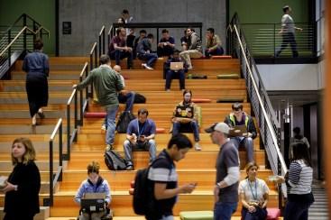 Employees inside Amazon's Seattle corporate headquarters.. (Jordan Stead / Amazon)