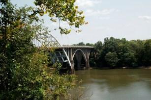 The back deck of Organpi Farms Farmhouse offers a view of Selma's historic Edmund Pettus Bridge. (Brittany Faush/Alabama NewsCenter)