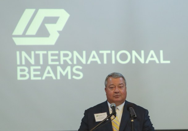 Alabama Commerce Secretary Greg Canfield speaks at International Beams' announcement that it will invest $20 million in a manufacturing facility in Dothan. (Jamie Martin/Governor's Office)