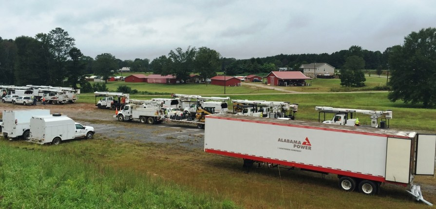 Alabama Power crews stage near Wedowee. (George Smith / Alabama NewsCenter)