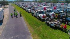 Trucks of crew members on duty in Floirda. (Photo courtesy of Melissa Matisko)