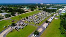 A look at Alabama Power trucks from high above. (Photo courtesy of Melissa Matisko)