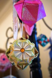 Pappas learned how to make origami ornaments and has decorated a Christmas tree with them. (Erin Harney/Alabama NewsCenter)