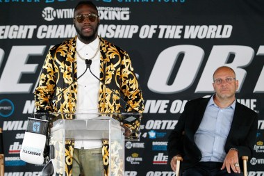 "Deontay Wilder at the press conference announcing the bout with Louis ""King Kong"" Ortiz. (Ed Diller/Showtime)"