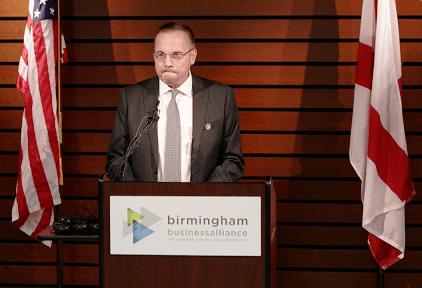 Autocar President James Johnston speaks at the Autocar announcement. (Bruce Nix / Alabama NewsCenter)