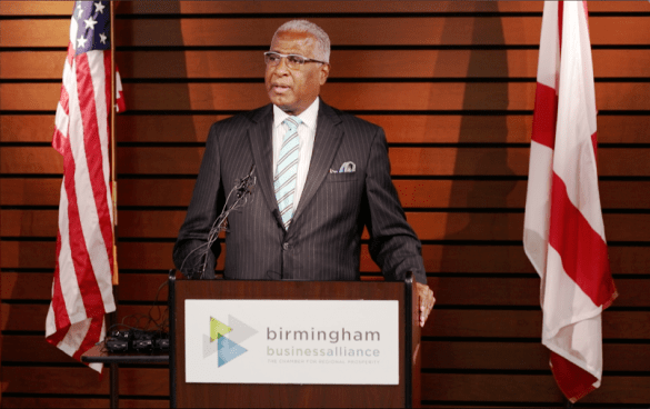 Birmingham Mayor William Bell speaks at the Autocar announcement. (Bruce Nix / Alabama NewsCenter)