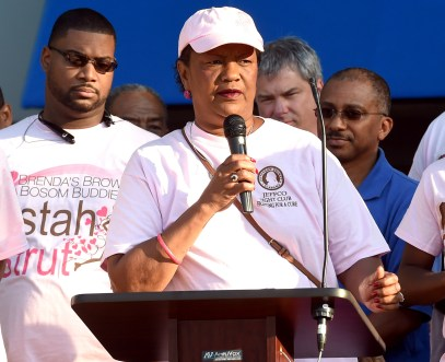 Jefferson County Commissioner Sandra Little Brown, a cancer survivor, speaks during the Brenda's Brown Bosom Buddies Fifth Annual Sistah Strut at Legion Field in Birmingham last year. (Photo by Mark Almond)