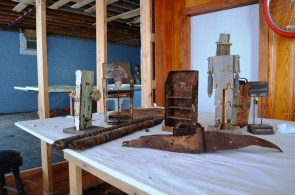 Small sculptures made from reclaimed materials by Garland Farwell. (Anne Kristoff/Alabama NewsCenter)