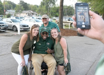 Timothy Alexander, the face of UAB's return to football, was a popular subject for selfies after the Blazers beat Alabama A&M 38-7. (Solomon Crenshaw Jr. / Alabama NewsCenter)