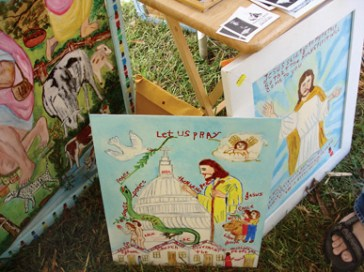 Paintings by outsider artist Myrtice West at the Kentuck Festival of the Arts in Northport, Tuscaloosa County. (From Encyclopedia of Alabama, courtesy of Ginger Ann Brook)