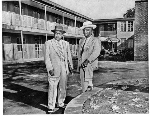 Birmingham businessman A.G. Gaston, right, in July 1957 at his motel on Fifth Avenue North, in what is now the Birmingham Civil Rights District. In 2017, the Gaston Motel was named as part of the new Birmingham Civil Rights National Monument by President Barack Obama. (From Encyclopedia of Alabama, courtesy of Birmingham Civil Rights Institute)