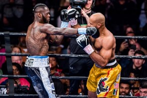 Deontay Wilder punches Gerald Washington in his most recent title defense in February. (Nik Layman / Alabama NewsCenter)