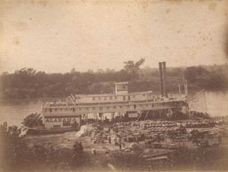 "Loading cotton on the steamboat ""Alabama"" on the Alabama River in Montgomery, 1880-1899. (Alabama Department of Archives and History, Wikipedia)"