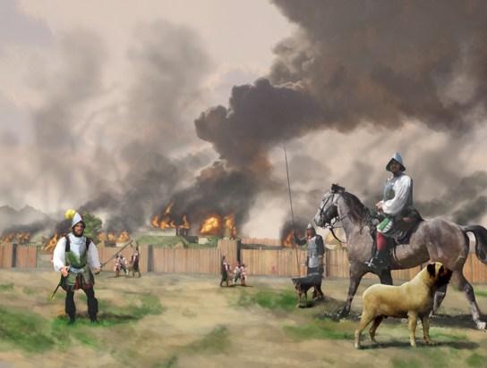 Artwork depicting Hernando de Soto, and his men, burning Mabila, 1540. (Herb Roe, Wikipedia)