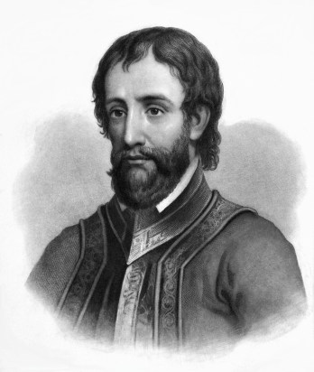 Engraving of Hernando De Soto by John Sartain. Engraving was published in The life, travels and adventures of Ferdinand De Soto by Lambert A. Wilmer, 1858. (Wikipedia)