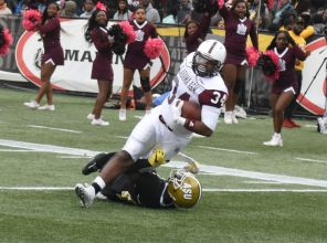 Bulldogs tight end Roderick Randolph is stopped short of the end zone in the second quarter of the 76th McDonald's Magic City Classic presented by Coca-Cola. (Solomon Crenshaw Jr./Alabama NewsCenter)