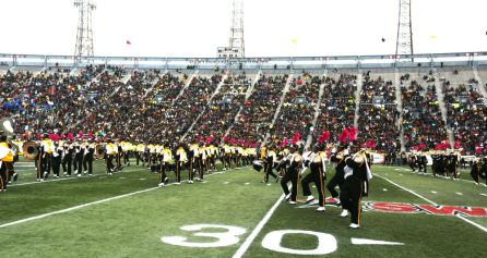 Alabama State University's band put on a show during the game. (Solomon Crenshaw Jr.)
